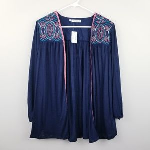 Maurices | Navy Embroidered Open Front Cardigan